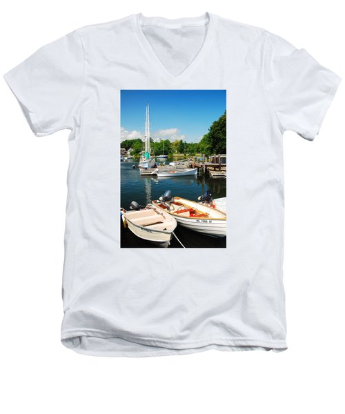 Woods Hole Harbor Men's V-Neck T-Shirt by James Kirkikis