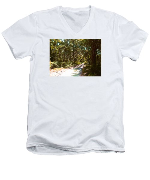 Woodsy Trail Men's V-Neck T-Shirt by Ginny Schmidt