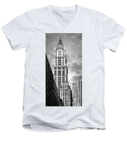 Men's V-Neck T-Shirt featuring the photograph Woolworth Building by Juergen Held