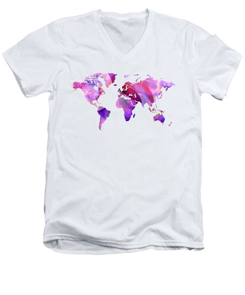 World Map 20 Pink And Purple By Sharon Cummings Men's V-Neck T-Shirt by Sharon Cummings