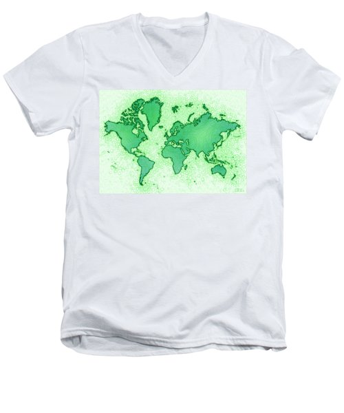 World Map Airy In Green And White Men's V-Neck T-Shirt by Eleven Corners