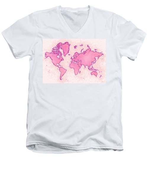 World Map Airy In Pink And White Men's V-Neck T-Shirt by Eleven Corners