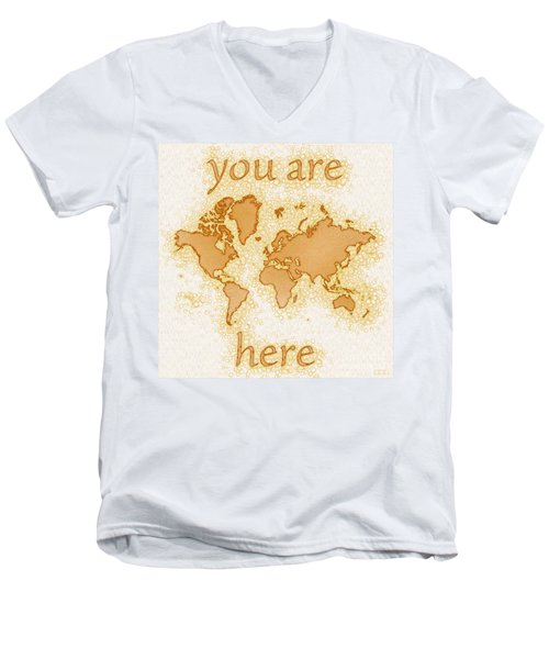 World Map Airy You Are Here In Brown And White  Men's V-Neck T-Shirt by Eleven Corners