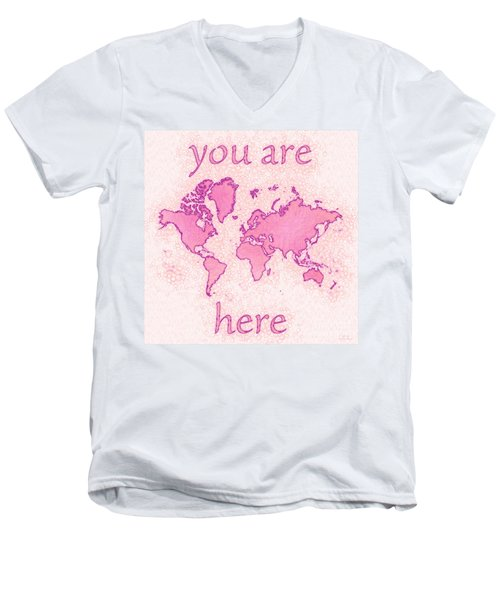 World Map Airy You Are Here In Pink And White Men's V-Neck T-Shirt by Eleven Corners