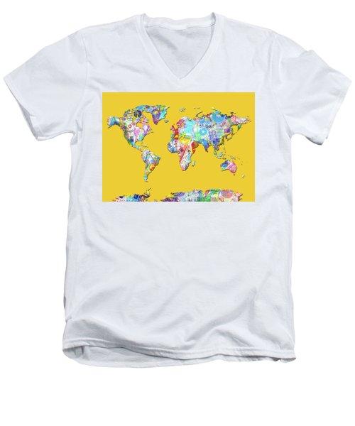 Men's V-Neck T-Shirt featuring the digital art World Map Music 13 by Bekim Art