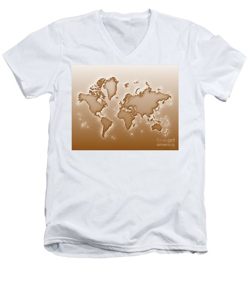 World Map Opala In Brown And White Men's V-Neck T-Shirt