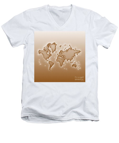 World Map Opala Square In Brown And White Men's V-Neck T-Shirt