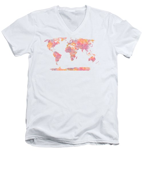 World Map Watercolor Painting Men's V-Neck T-Shirt by Georgeta Blanaru