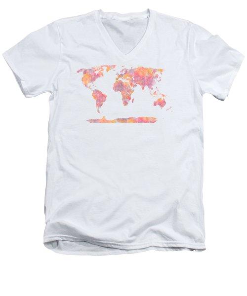 World Map Watercolor Painting Men's V-Neck T-Shirt