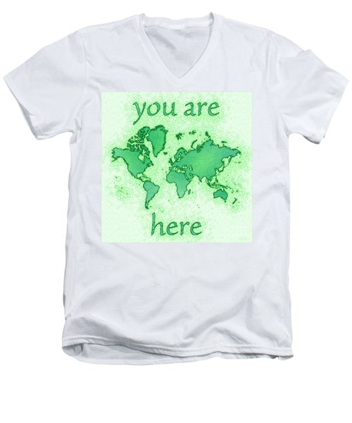 World Map You Are Here Airy In Green And White Men's V-Neck T-Shirt by Eleven Corners