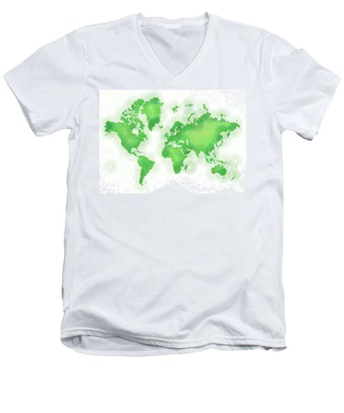 World Map Zona In Green And White Men's V-Neck T-Shirt by Eleven Corners