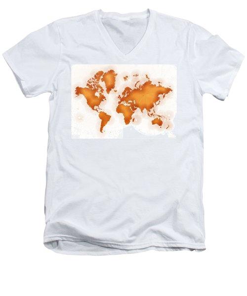 World Map Zona In Orange And White Men's V-Neck T-Shirt