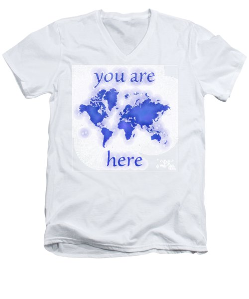 World Map Zona You Are Here In Blue And White Men's V-Neck T-Shirt