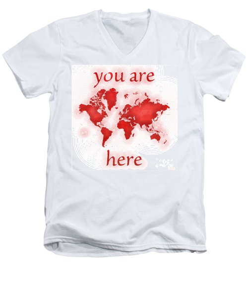 World Map Zona You Are Here In Red And White Men's V-Neck T-Shirt by Eleven Corners