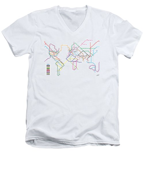 World Metro Tube Subway Map Men's V-Neck T-Shirt