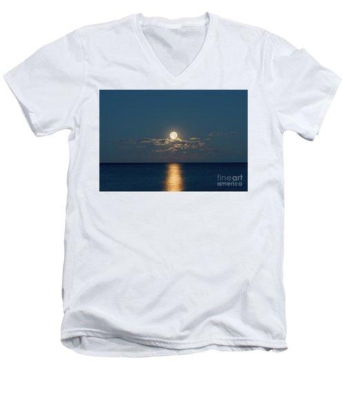 Worm Moon Over The Atlantic Men's V-Neck T-Shirt