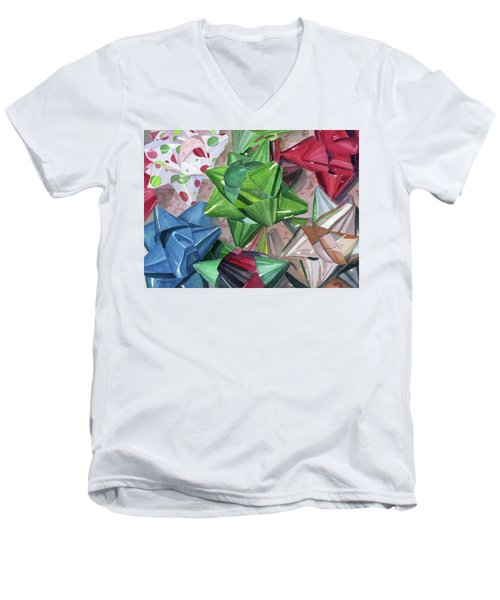 Men's V-Neck T-Shirt featuring the painting Wrap It Up by Lynne Reichhart