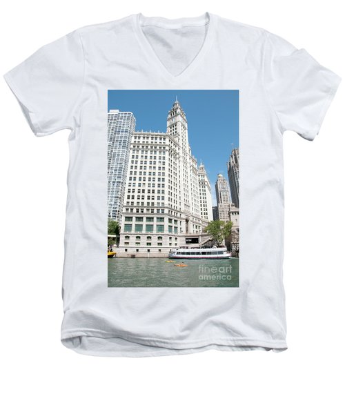 Wrigley Building Overlooking The Chicago River Men's V-Neck T-Shirt