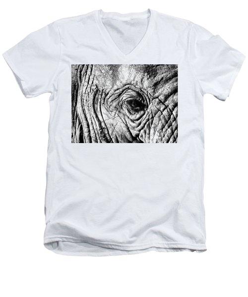 Wrinkled Eye Men's V-Neck T-Shirt by Douglas Barnard