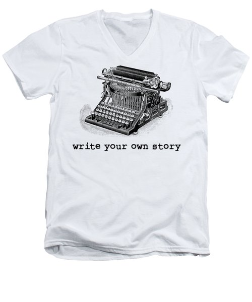 Write Your Own Story T-shirt Men's V-Neck T-Shirt by Edward Fielding