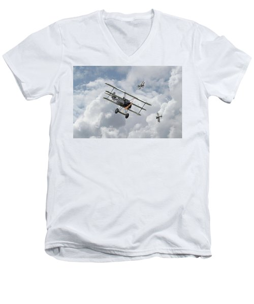 Men's V-Neck T-Shirt featuring the photograph Ww1 - Fokker Dr1 - Predator by Pat Speirs