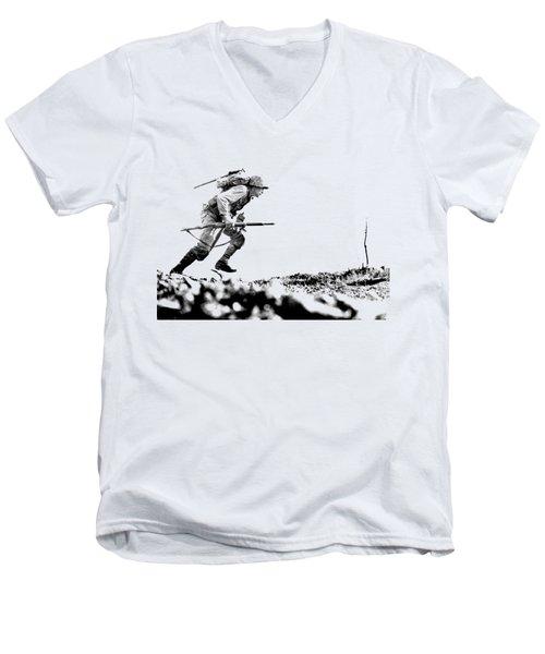 Wwii Marine Crosses Death Valley Okinawa Men's V-Neck T-Shirt