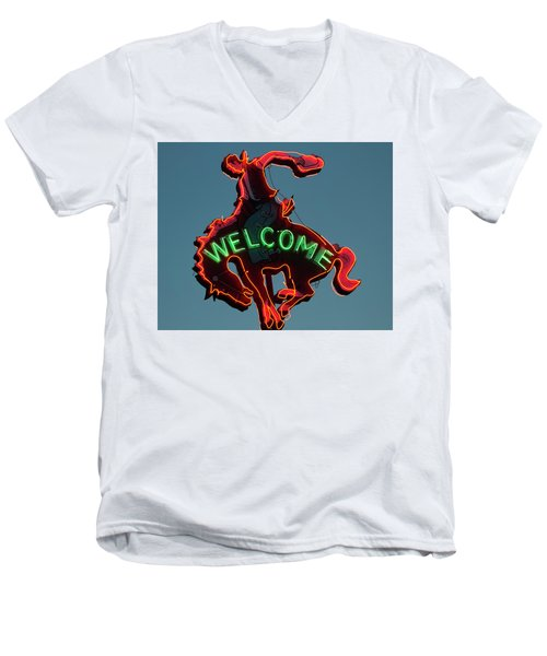Wyoming Cowboy Vintage Neon Sign Men's V-Neck T-Shirt