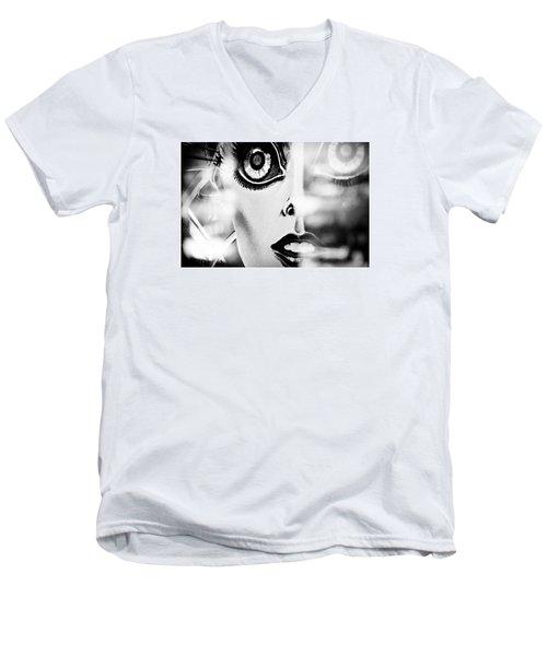 Xenon - Black And White Men's V-Neck T-Shirt
