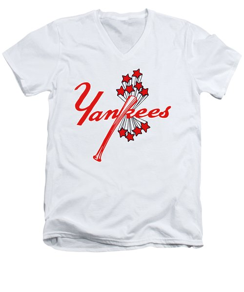 Men's V-Neck T-Shirt featuring the digital art Yankees Vintage by Gina Dsgn