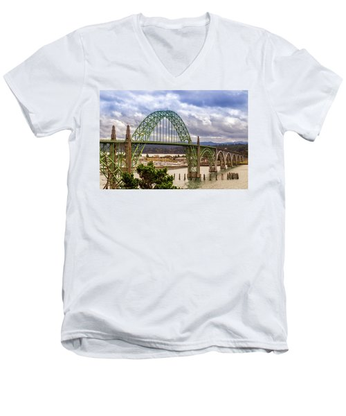 Men's V-Neck T-Shirt featuring the photograph Yaquina Bay Bridge by James Eddy
