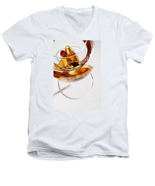 Men's V-Neck T-Shirt featuring the photograph Yellow Amber Stones In A Glass. by Andrey  Godyaykin