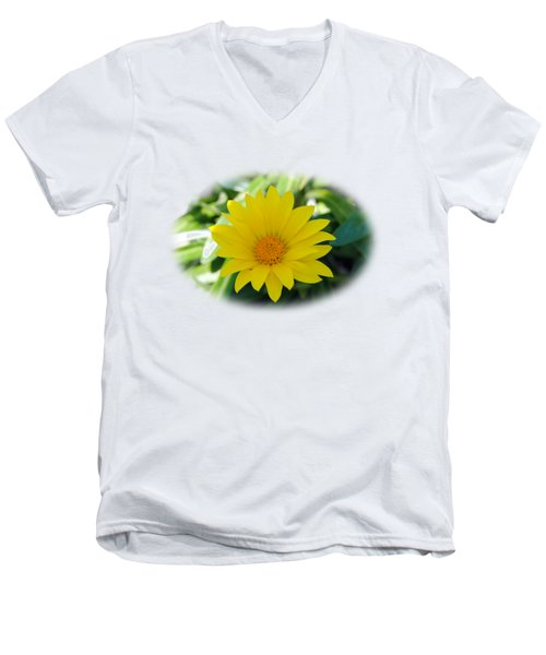 Yellow Flower T-shirt Men's V-Neck T-Shirt by Isam Awad