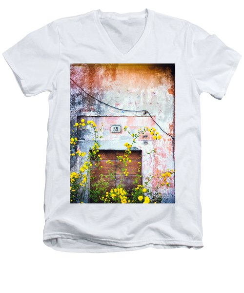 Yellow Flowers And Decayed Wall Men's V-Neck T-Shirt by Silvia Ganora