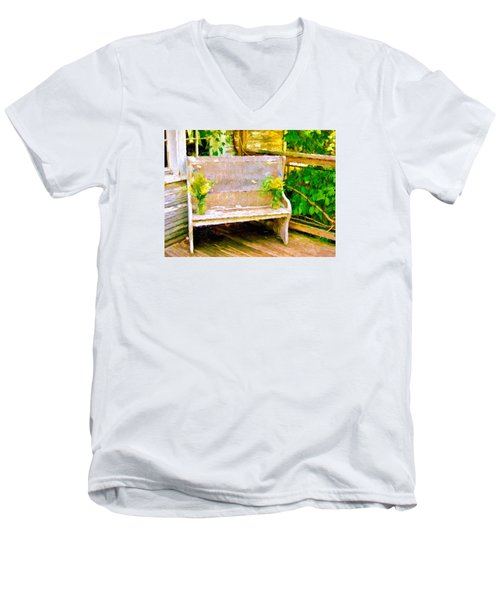 Yellow Flowers On Porch Bench Men's V-Neck T-Shirt