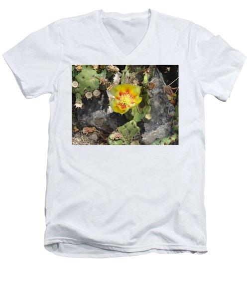 Yellow Cactus Flower Blossom Men's V-Neck T-Shirt