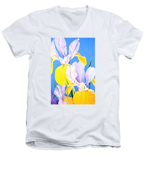 Yellow Irises-posthumously Presented Paintings Of Sachi Spohn  Men's V-Neck T-Shirt