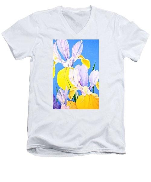 Yellow Irises-posthumously Presented Paintings Of Sachi Spohn  Men's V-Neck T-Shirt