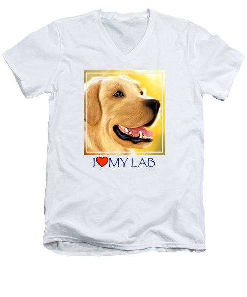 Yellow Lab Portrait Men's V-Neck T-Shirt
