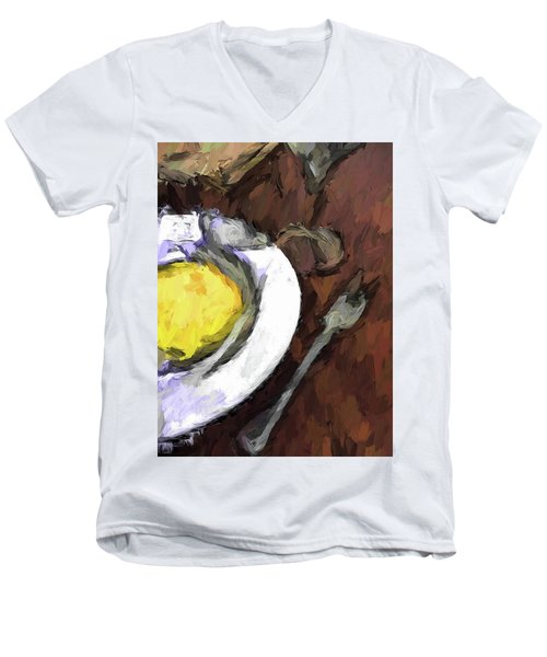 Yellow Lemon In A White Bowl With A Fork And A Wine Glass Men's V-Neck T-Shirt