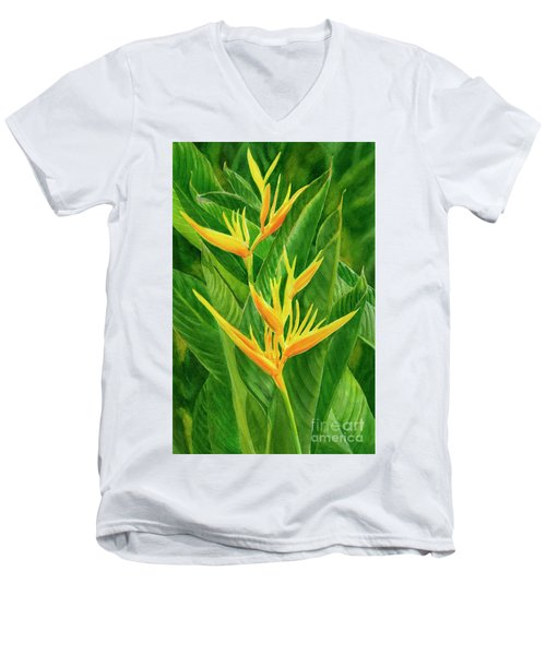 Yellow Orange Heliconia With Leaves Men's V-Neck T-Shirt