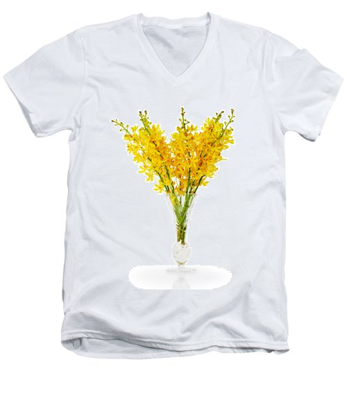 Yellow Orchid In Crystal Vase Men's V-Neck T-Shirt