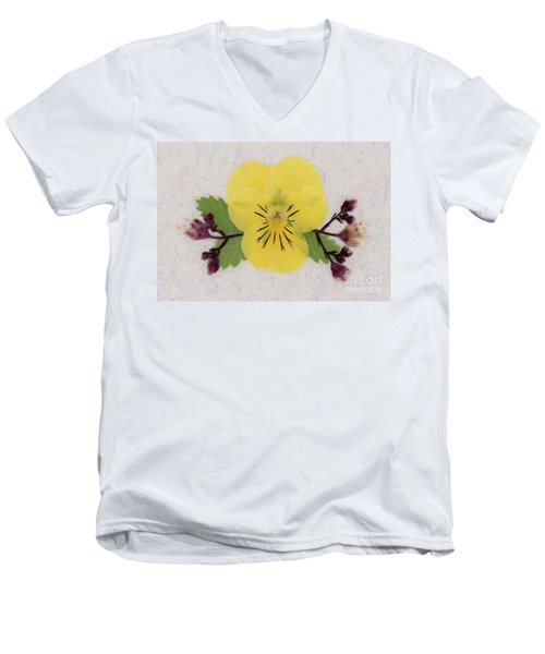 Yellow Pansy And Coral Bells Pressed Flowers Men's V-Neck T-Shirt