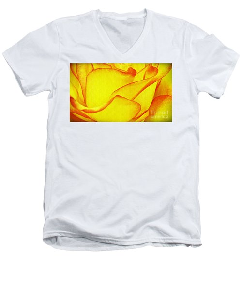 Yellow Rose Abstract Men's V-Neck T-Shirt