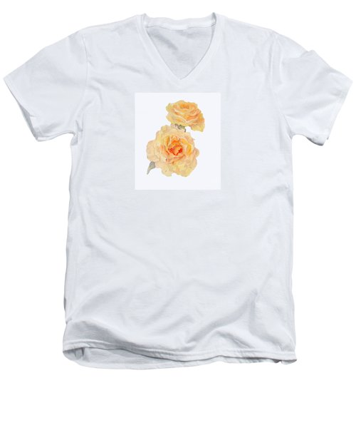 Men's V-Neck T-Shirt featuring the painting Yellow Roses by Beatrice Cloake