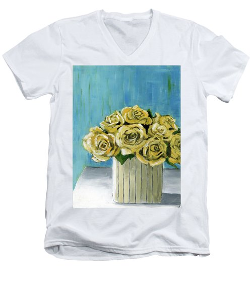 Yellow Roses In Vase Men's V-Neck T-Shirt