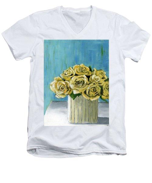 Yellow Roses In Vase Men's V-Neck T-Shirt