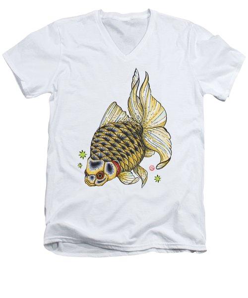 Yellow Ryukin Men's V-Neck T-Shirt by Shih Chang Yang