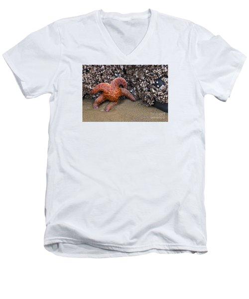 Orange Starfish On Beach #4 Men's V-Neck T-Shirt
