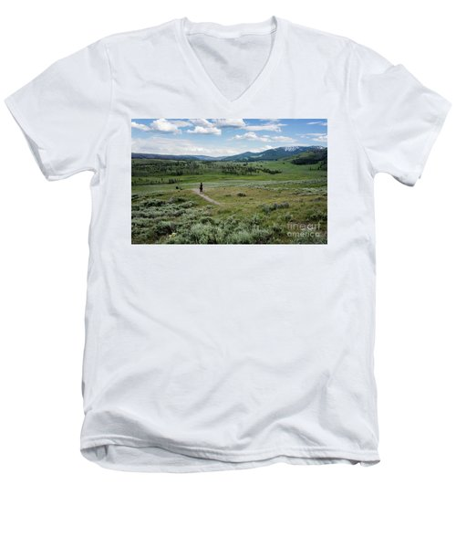 Men's V-Neck T-Shirt featuring the photograph Yellow Stone Mountains by Mae Wertz