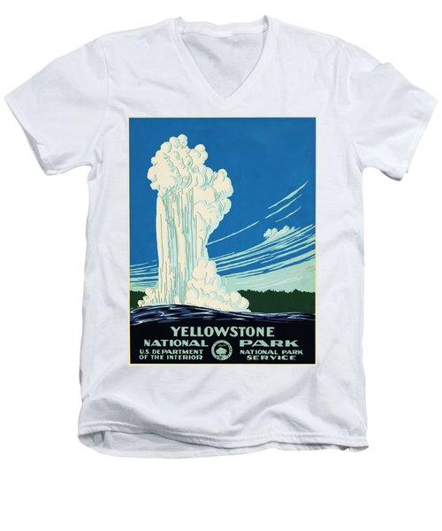 Yellow Stone Park - Vintage Travel Poster Men's V-Neck T-Shirt